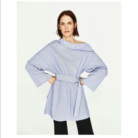 4c4d59df7c2 Zara off shoulder poplin tunic dress blue xl women.  M_5c3e4b1bd6dc527704d62377